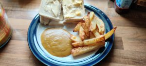 Home made chips and curry